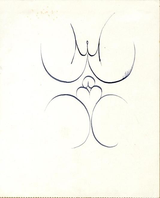 Male and female genitalia by Eric Gill