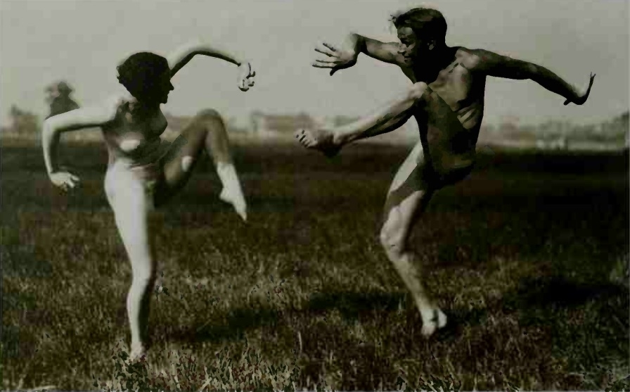 male and female nude doing crazy moves