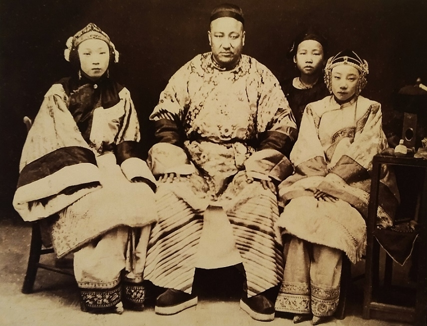 Mandarin with his concubines and servants photograph