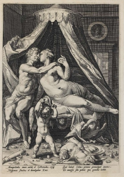 Mars and Venus with Cupid trying to wear a helmet