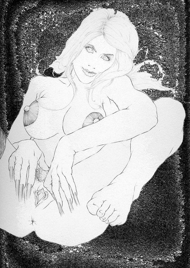 masturbating female erotic art