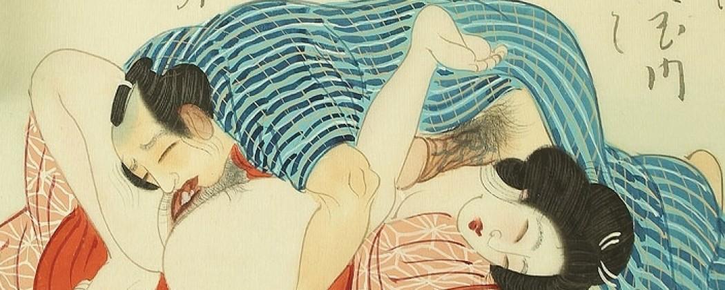 Delicate Meiji Shunga Scroll Displaying a Disarming Sensual Cheerfulness