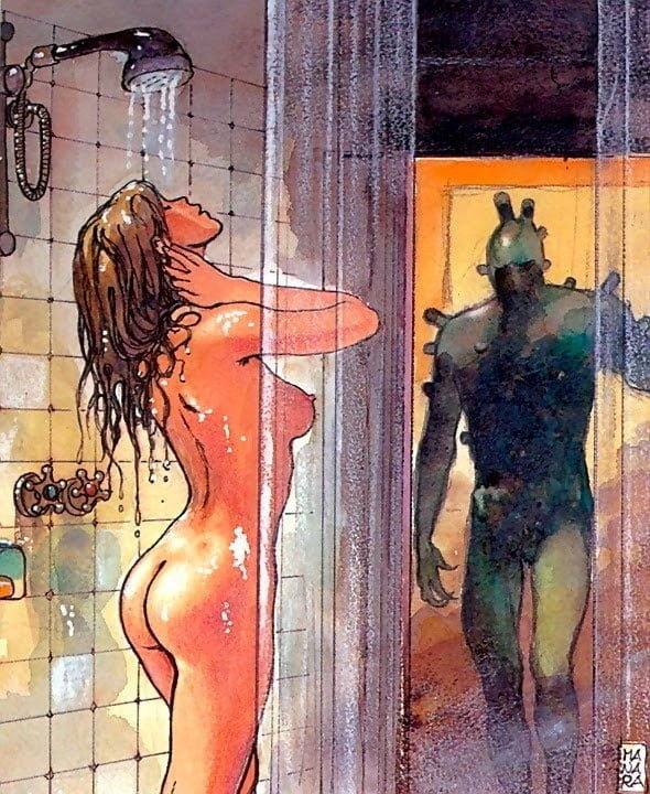 Milo Manara girl shower alien