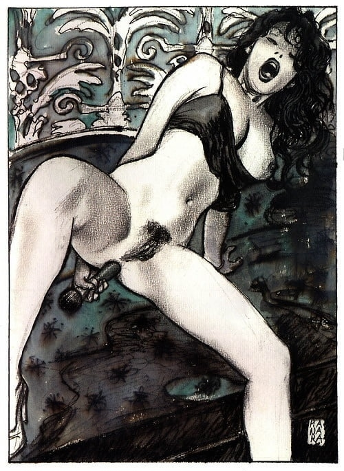 Milo Manara woman with dildo
