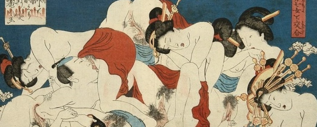 Shunga Depicting One Passionate Man Having Sex with Multiple Women