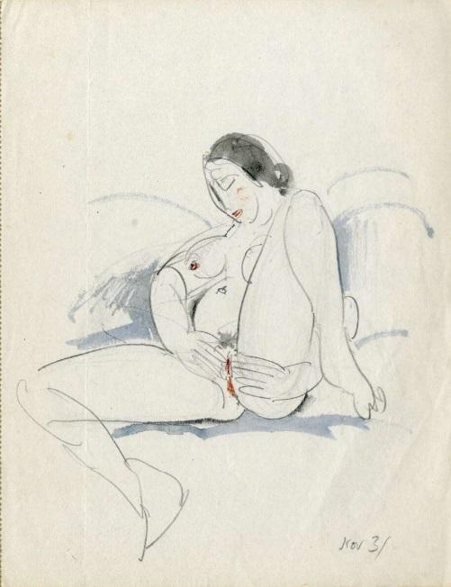 Naked masturbating woman by Eric Gill