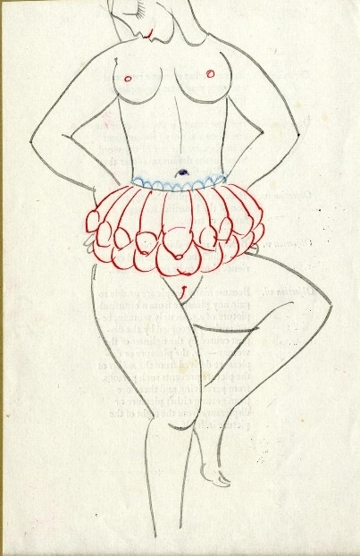 Naked woman with a genitalia-shaped skirt by Eric Gill