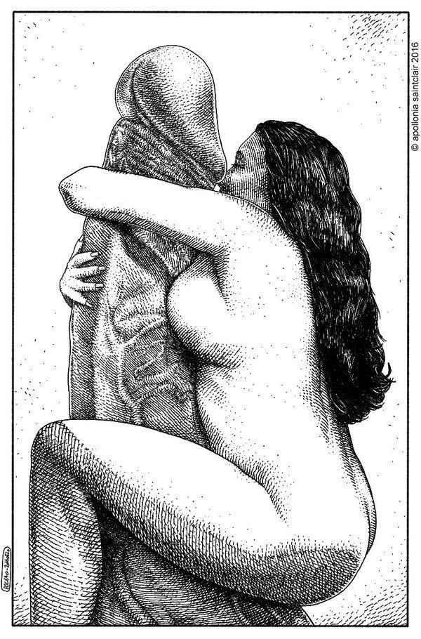 nude female embracing giant phallus