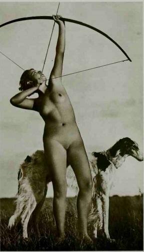 Nude woman as Diana