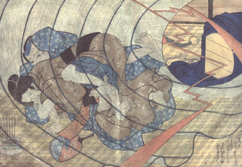 mosquito netting: 'Couple is overwhelmed by a lightning strike' (c.1824) 'Ehon Senrikyo' by Utagawa Yoshitora'