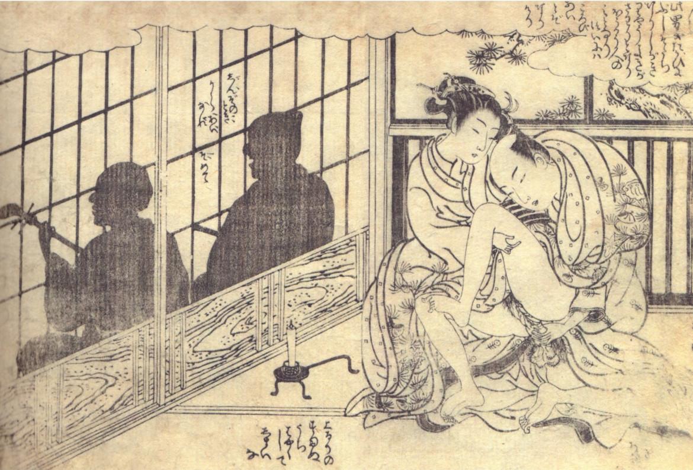 silhouette art: Harunobu shunga