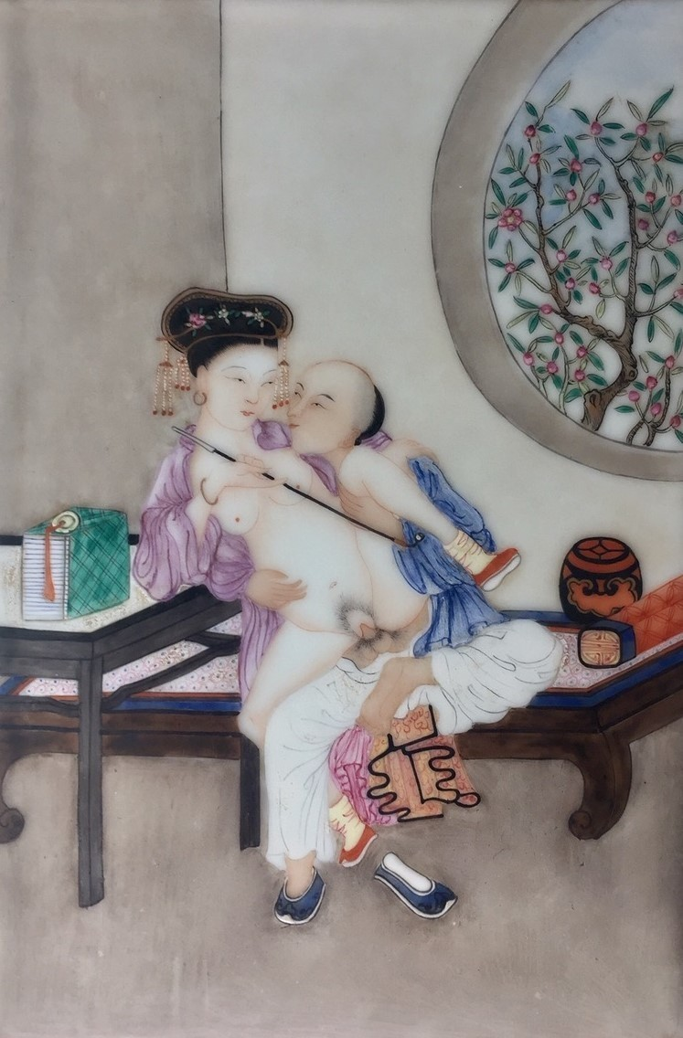 Chinese erotic tile depicting a servant and courtesan (late 19th century)