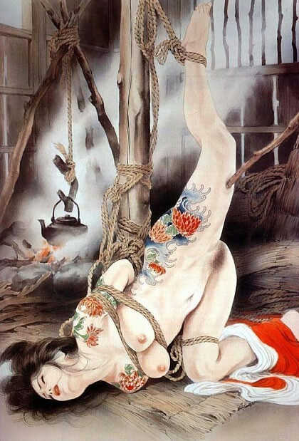 ozuma kaname painting depicting a tattooed female tied to a pole in a shed