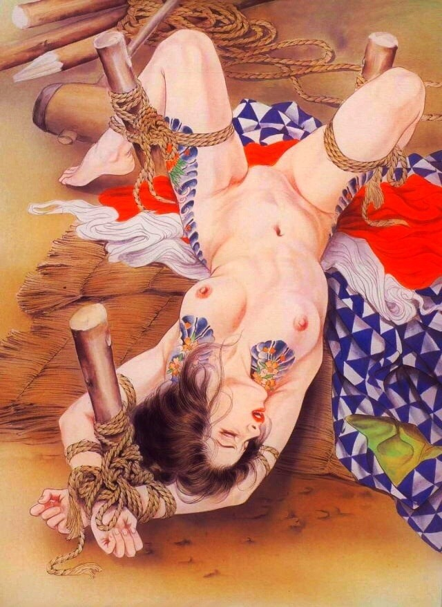 ozuma kaname painting depicting a tattooed beauty tied to the ground with poles
