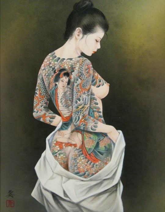 tattooed female with a tattooed female tattooed on her back by Ozuma Kaname