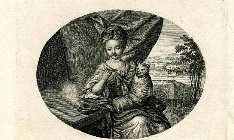 picart A Girl Feeding a Cat