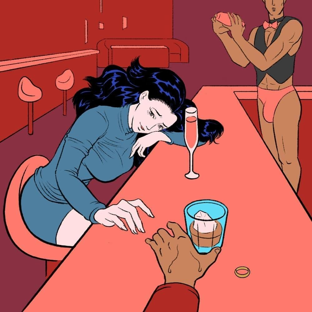 pigo lin drunk in a bar
