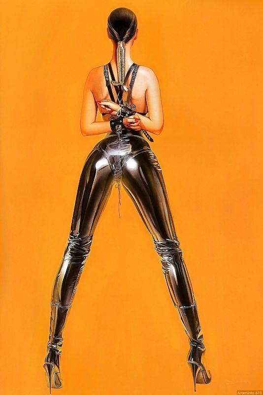 pin up in leather kinbaku