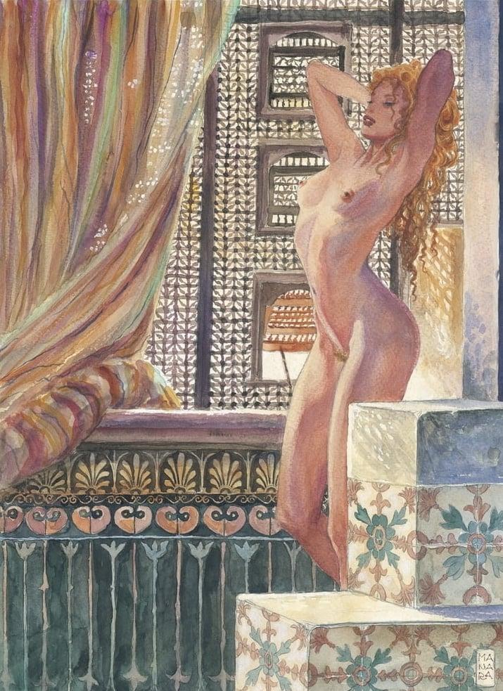 posing nude milo manara art