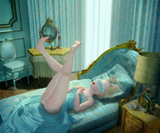 Ray Caesar masked girl on bed