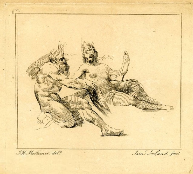 River God and Woman, print by Samuel Ireland after John Mortimer