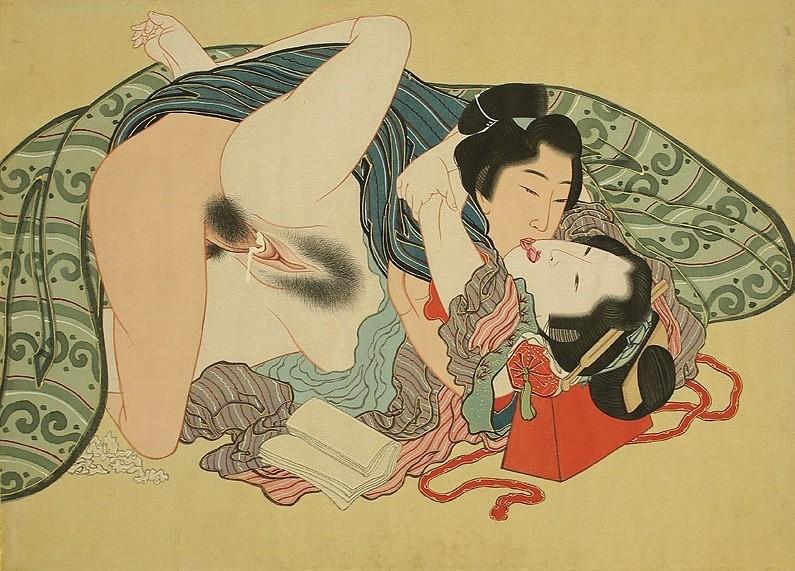 shunga gallery com: The Horny God of Izumo by Hokusai (painting 19th century)