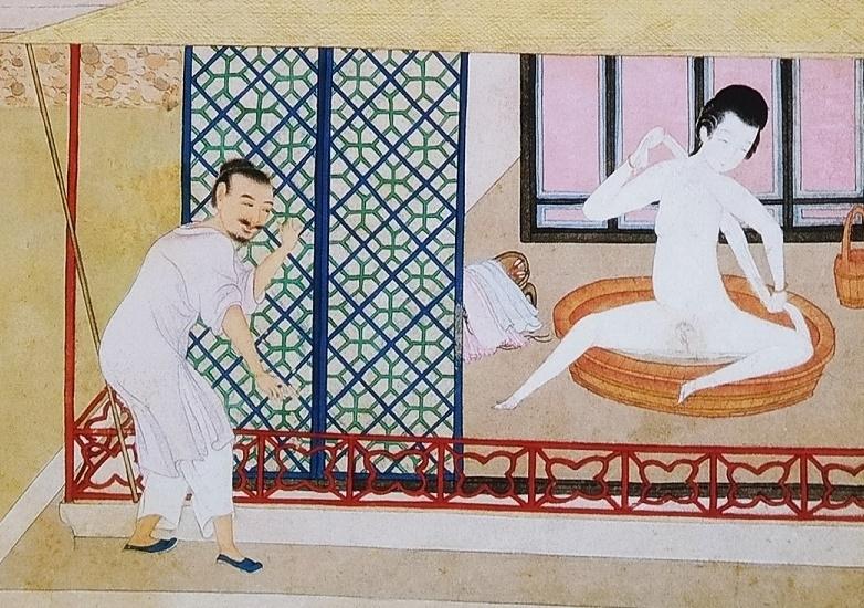 seductive bathing lady Chinese erotic art