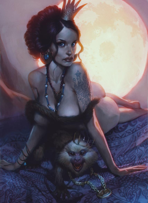 seductive female and monkey