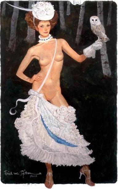 semi nude girl holding an owl