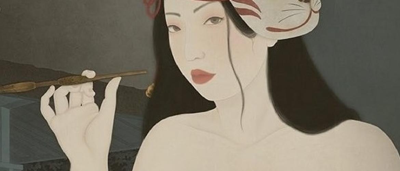 Smoking Semi Nude Female Sporting Fox Mask by Senju Shunga