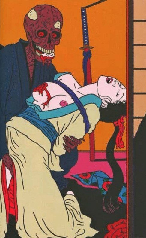 Toshio Saeki art depicting skeleton eating the breast of a tied female