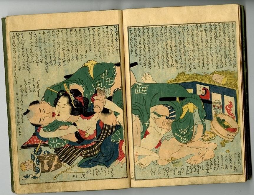shunga rape scene Hokusai