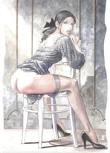 sitting pin up milo manara