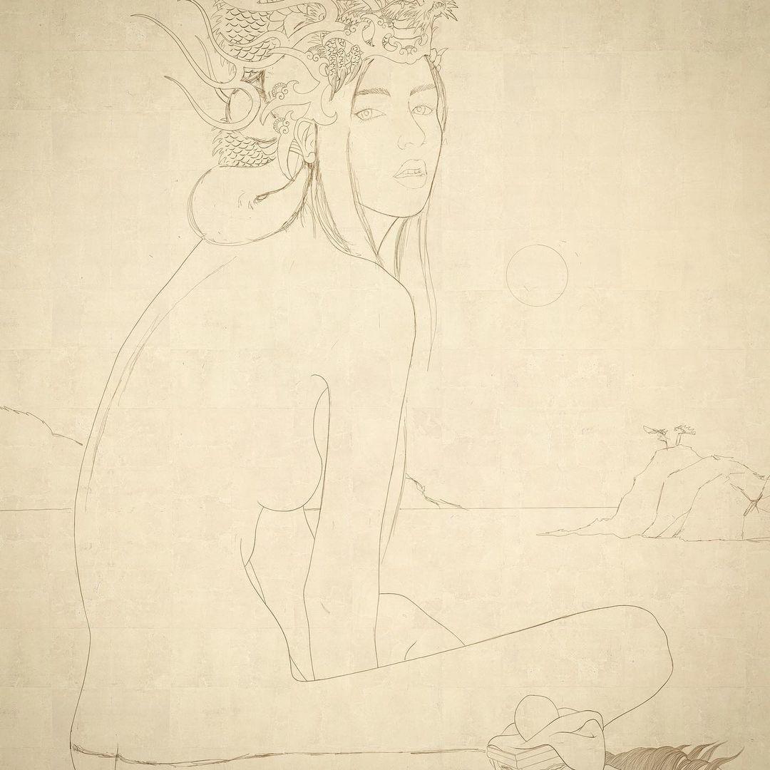 sketch Toyotama hime Senju Shunga