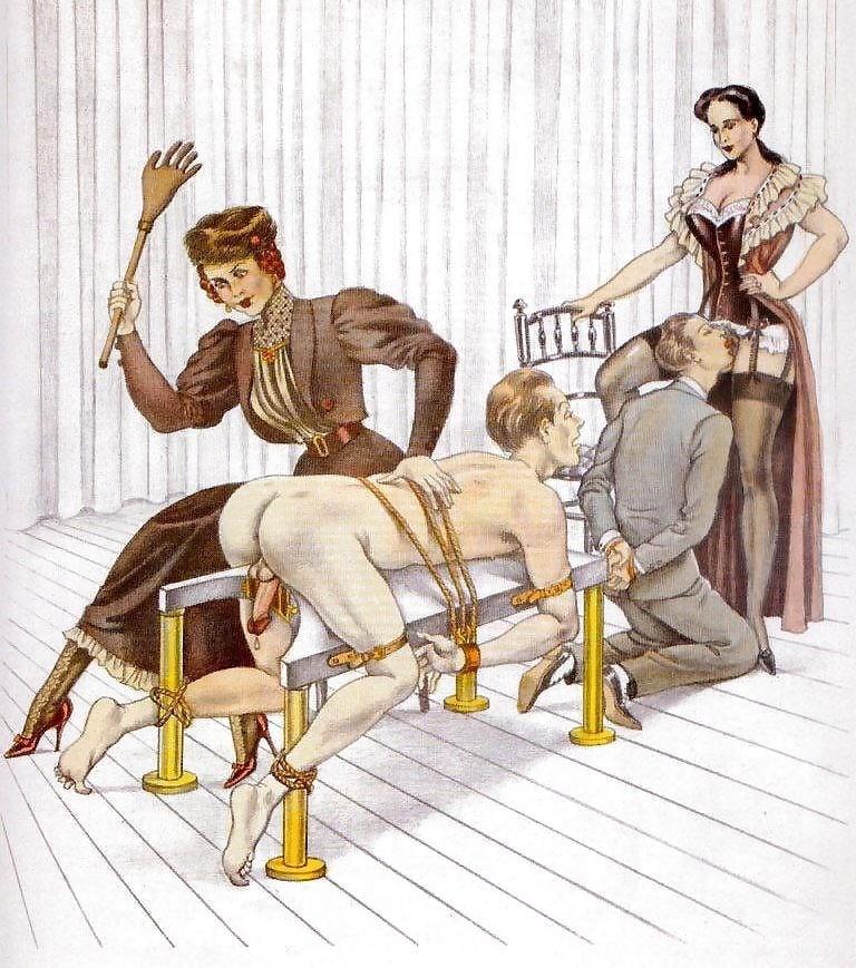 spanking art tied male