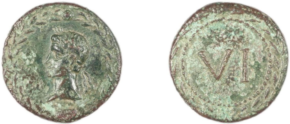 Spintria with Augustus's head