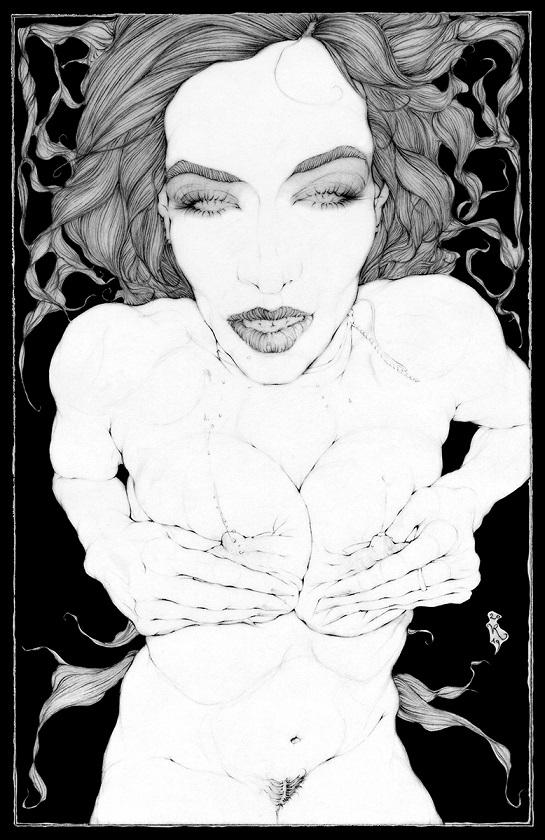 squeezing breasts erotic art