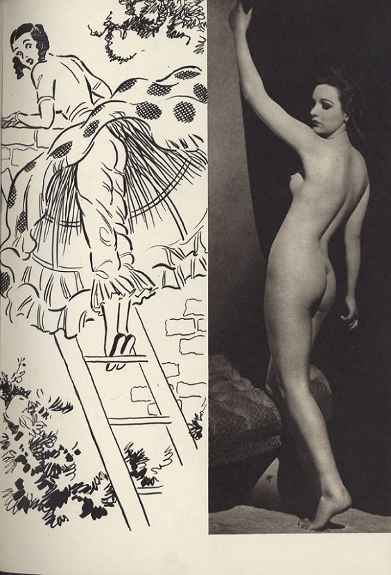 standing nude photograph illustration