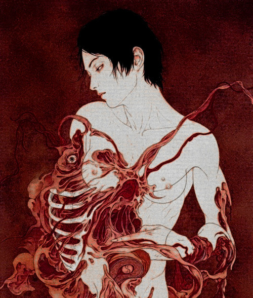 Takato Yamamoto: nude female embraced by a giant red lobster