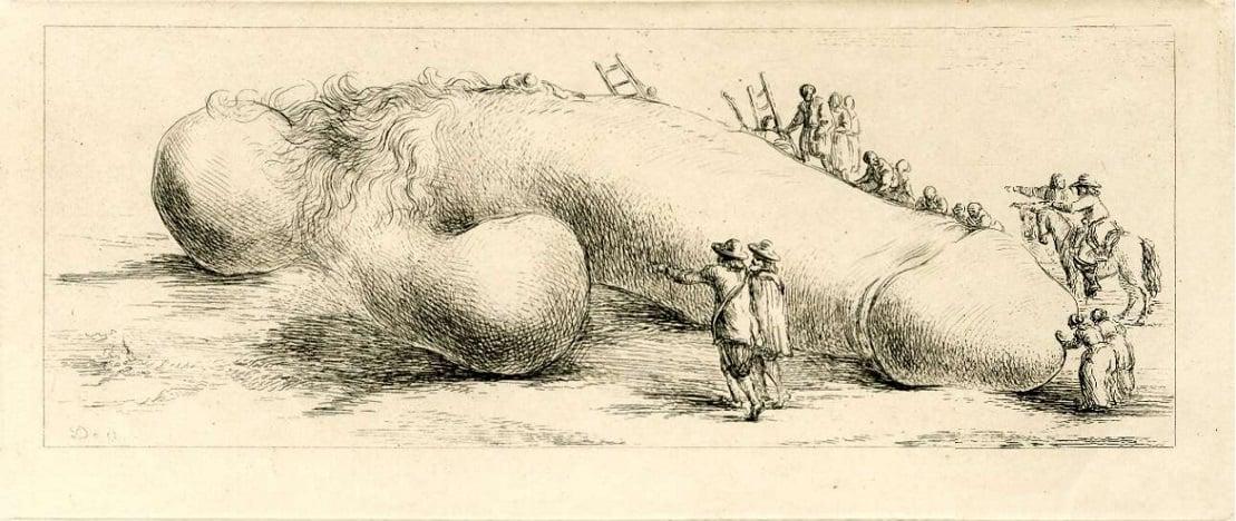 The crowd examining a giant phallus denon