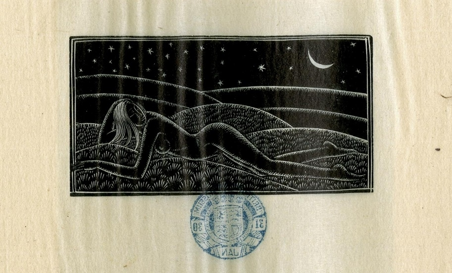 The naked girl in the field at night by Eric Gill