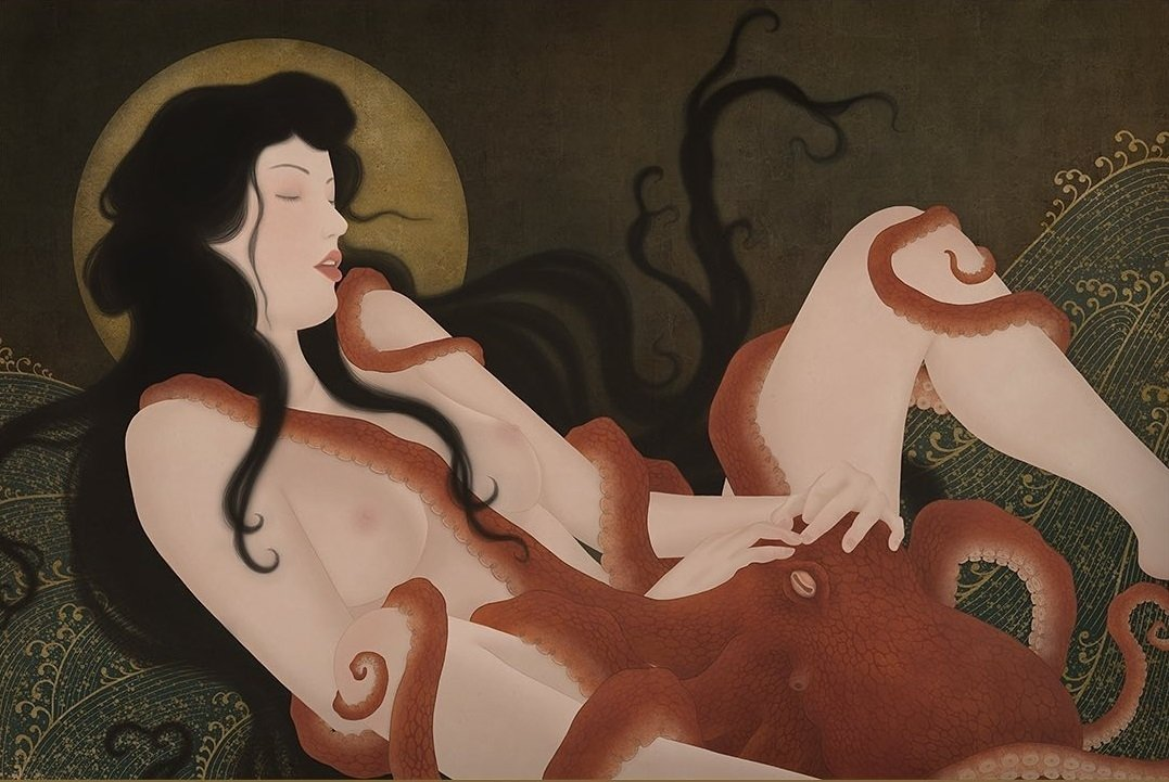 The Octopus and the Pearl Diver by Senju Shunga