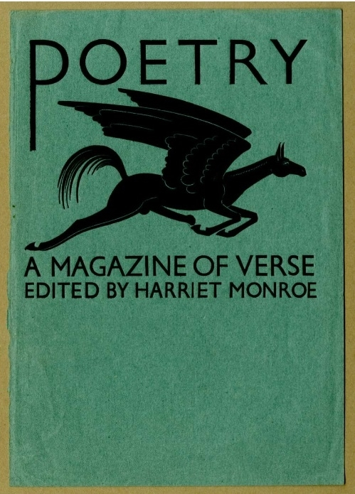 the striking cover of Poetry magazine by Eric Gill