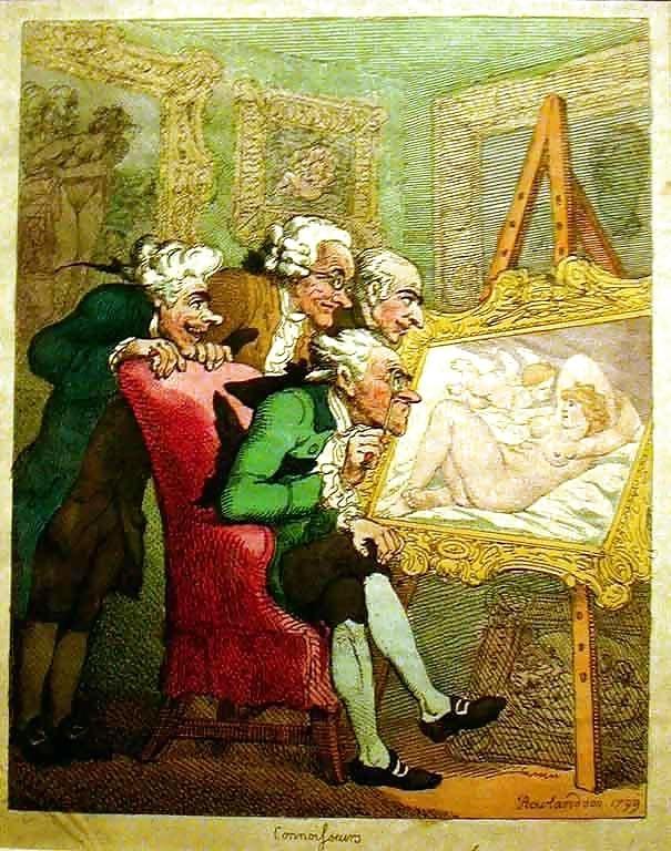 thomas rowlandson elderly males looking at nude painting