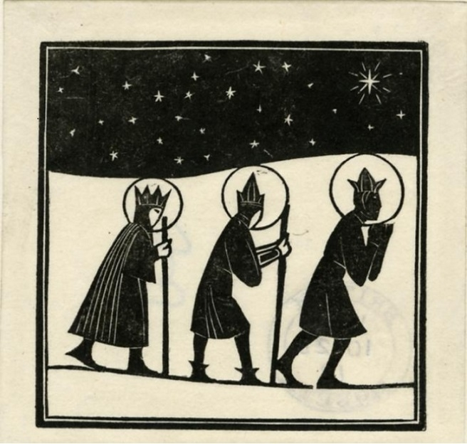 Three Kings Balthasar, Melchior, and Gaspar coming to newborn Christ Eric Gill