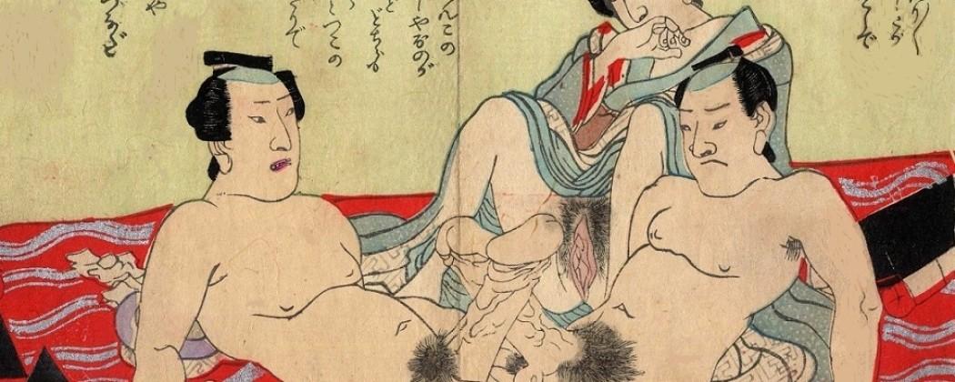 Crazy Shunga Design With Penis Wrestling Match Near the Tokaido Road