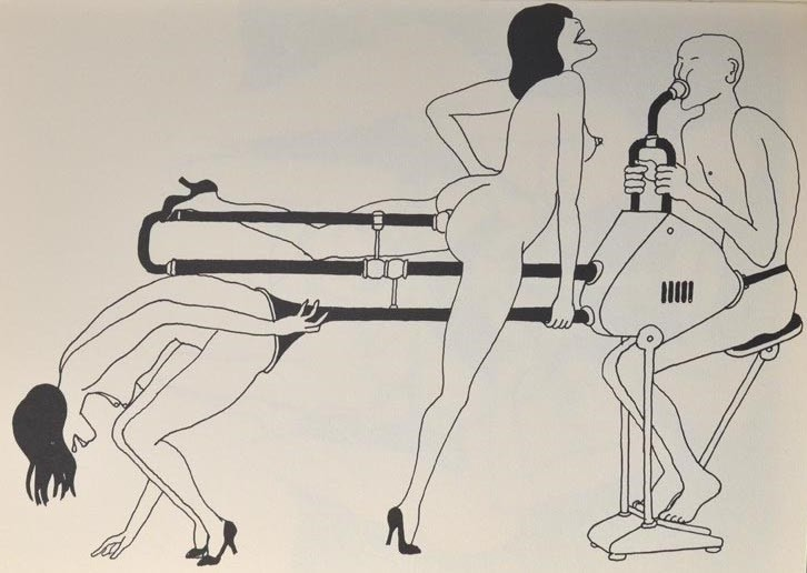 Tomi Ungerer sex machine with 3 humans