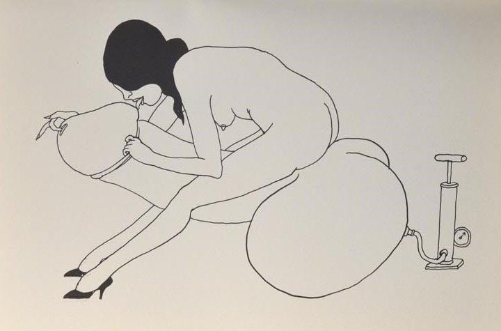 tomi ungerer female sitting on giant dildo