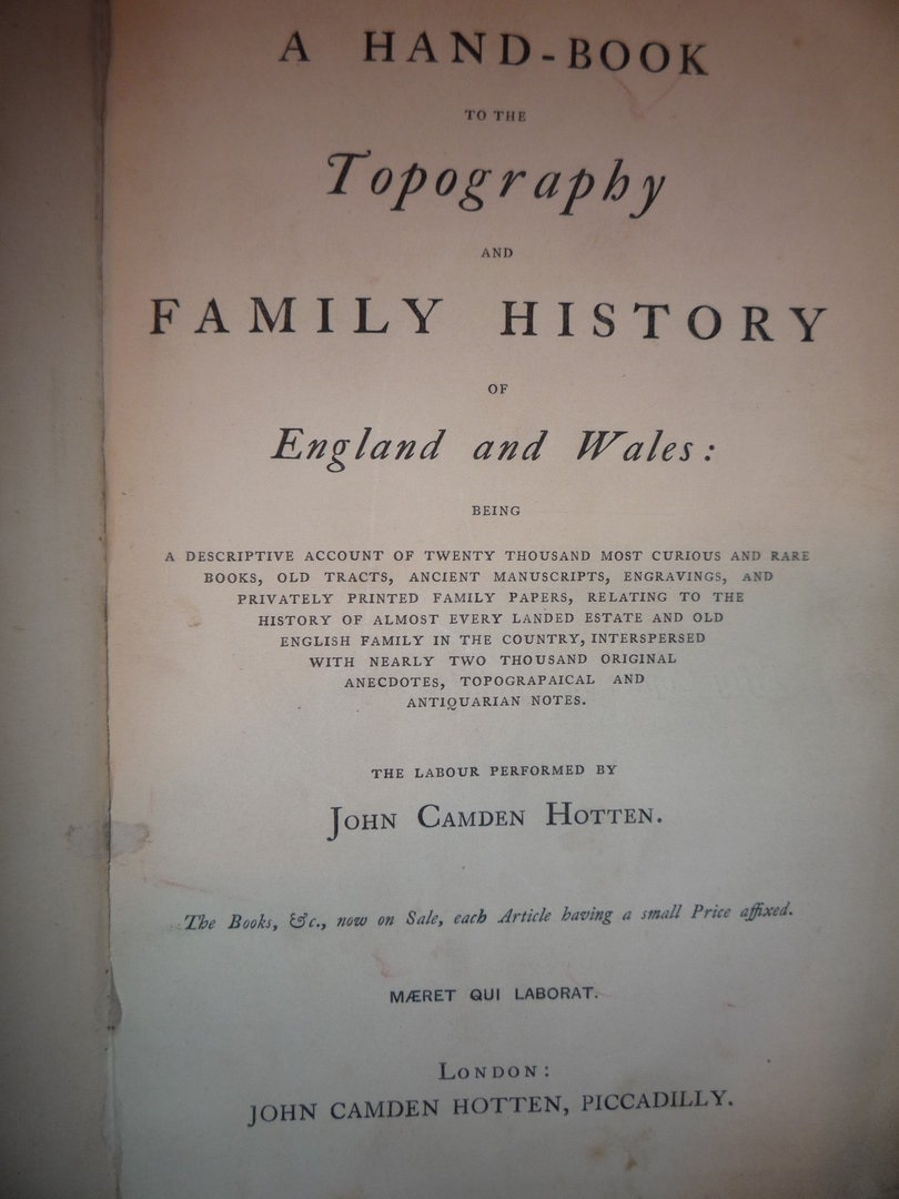 Topography of England and Wales edited by Hotten