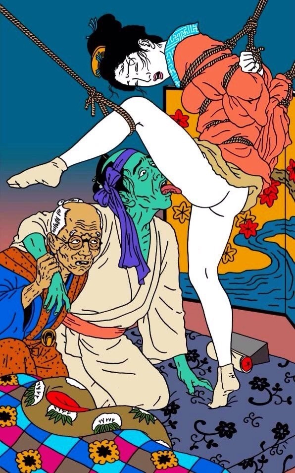 toshio saeki: tied geisha getting her pussy licked by a dying elderly male